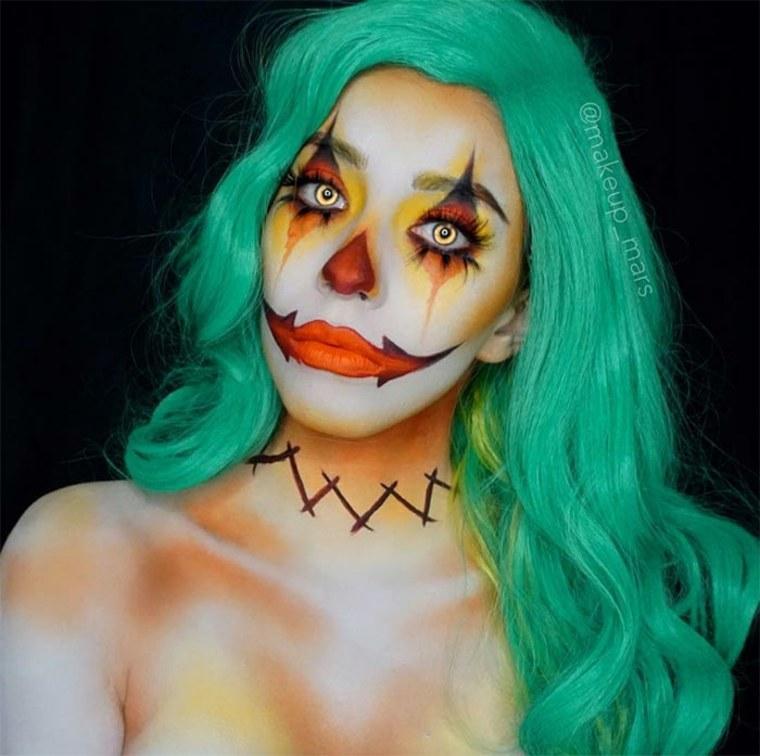 maquillaje-para-Halloween-payaso-pelo-verde