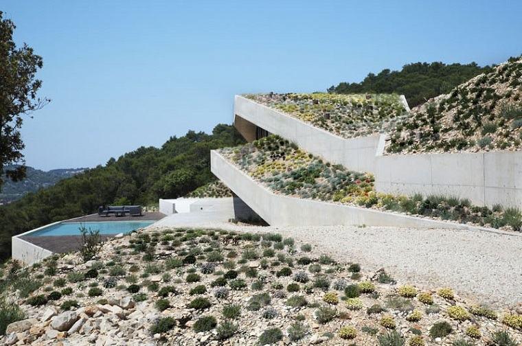 paisaje natural casa integrada rocas