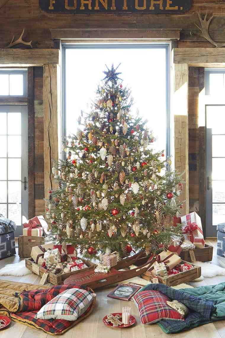 árboles navideños rusticos-casa-estilo-decoracion