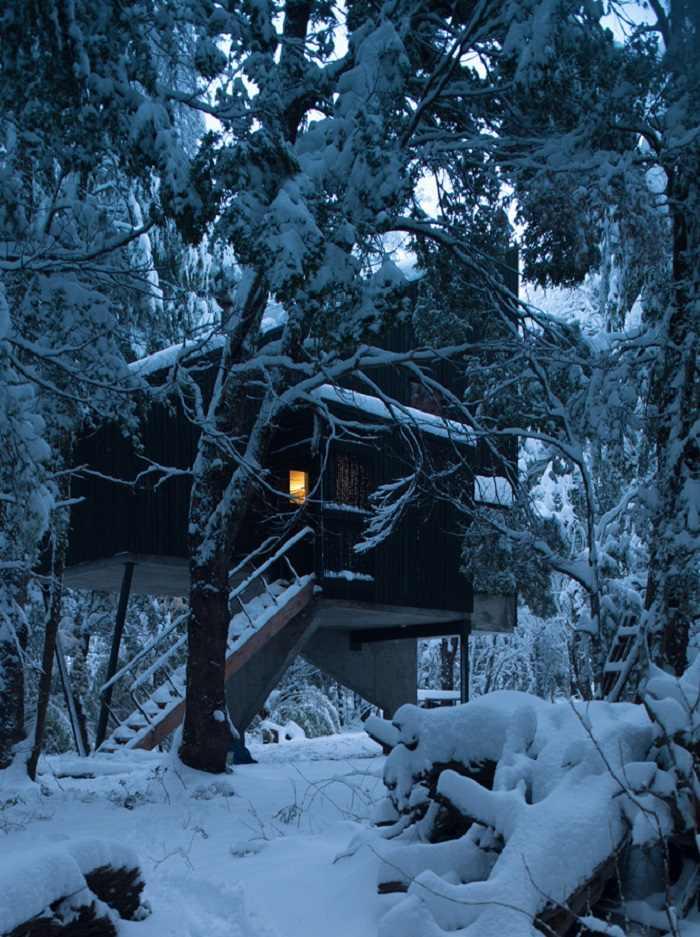 cabaña diseño exteriores nevados