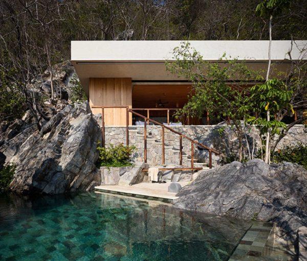 cabañas de madera diseño piscina