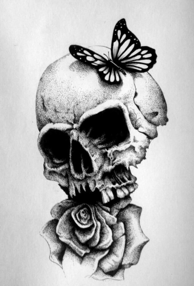 calavera-con-mariposa