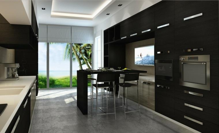 cocina-moderna-negro-madera-ideas