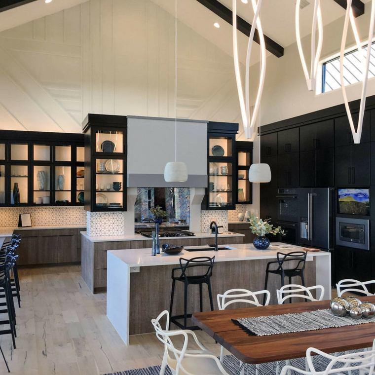 cocina-negra-elementos-madera-opciones