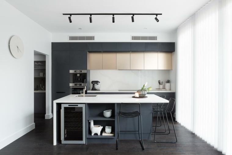 cocina-negro-espacio-pequeno-isla-ideas