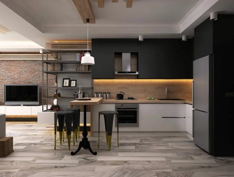 cocina-negro-madera-estilo-decoracon-casa