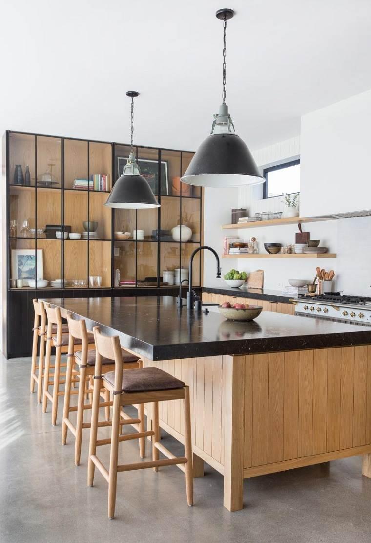 cocina-negro-madera-estilo-diseno-interior