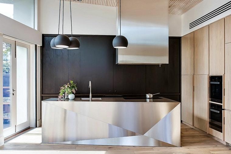 cocina-negro-madera-isla-toque-industrial