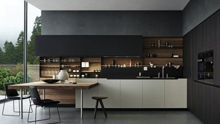 cocinas-negras-elementos-madera-opciones
