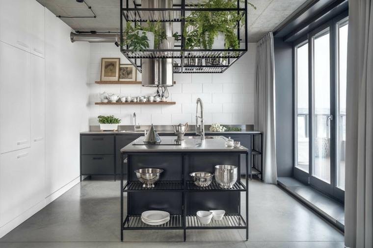 cocinas-negras-ideas-isla-diseno-industrial