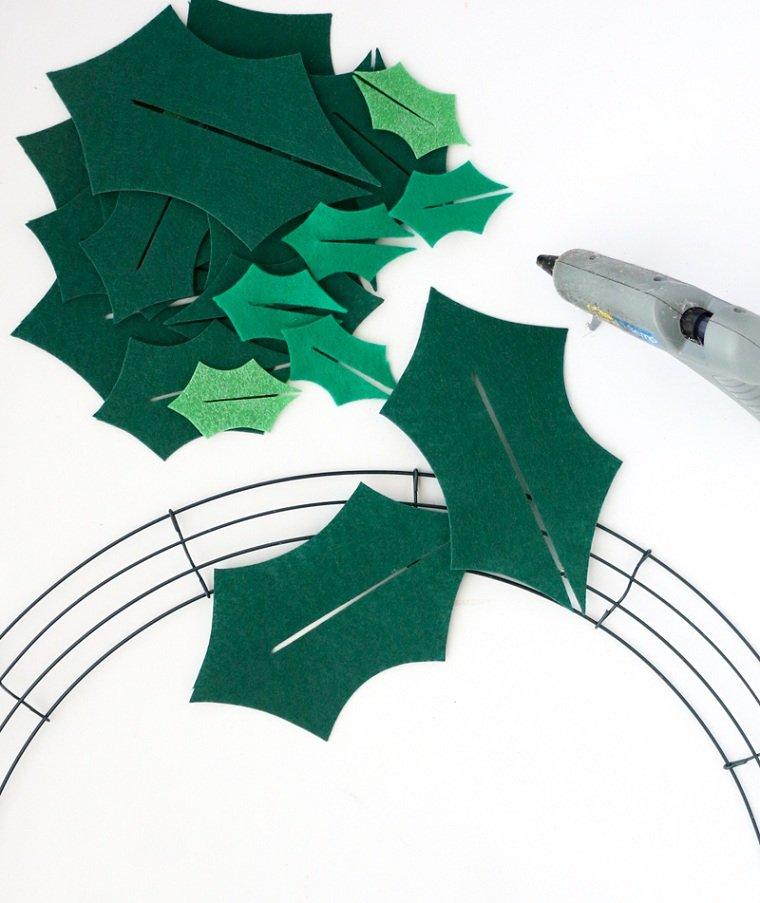 cómo hacer una corona de navidad -ideas-manualidad-ideas