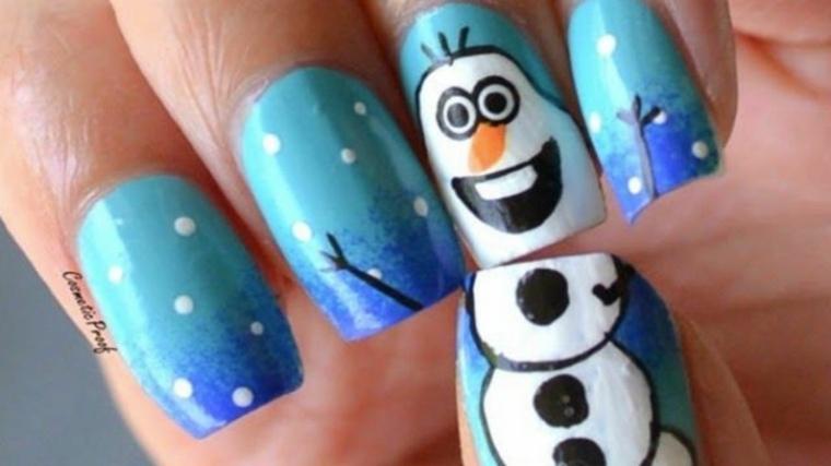 decoracion de unas-navidad-azul