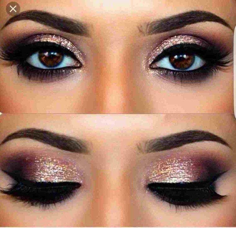 maquillaje de ojos-marrones-brillante