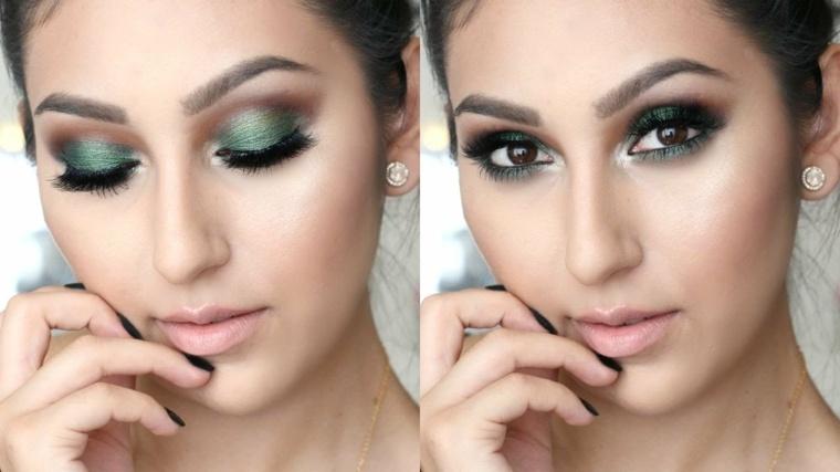 maquillaje de ojos-marrones-verde