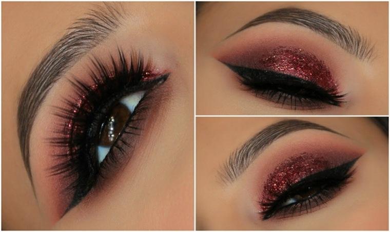 maquillaje para ojos-marrones-granate