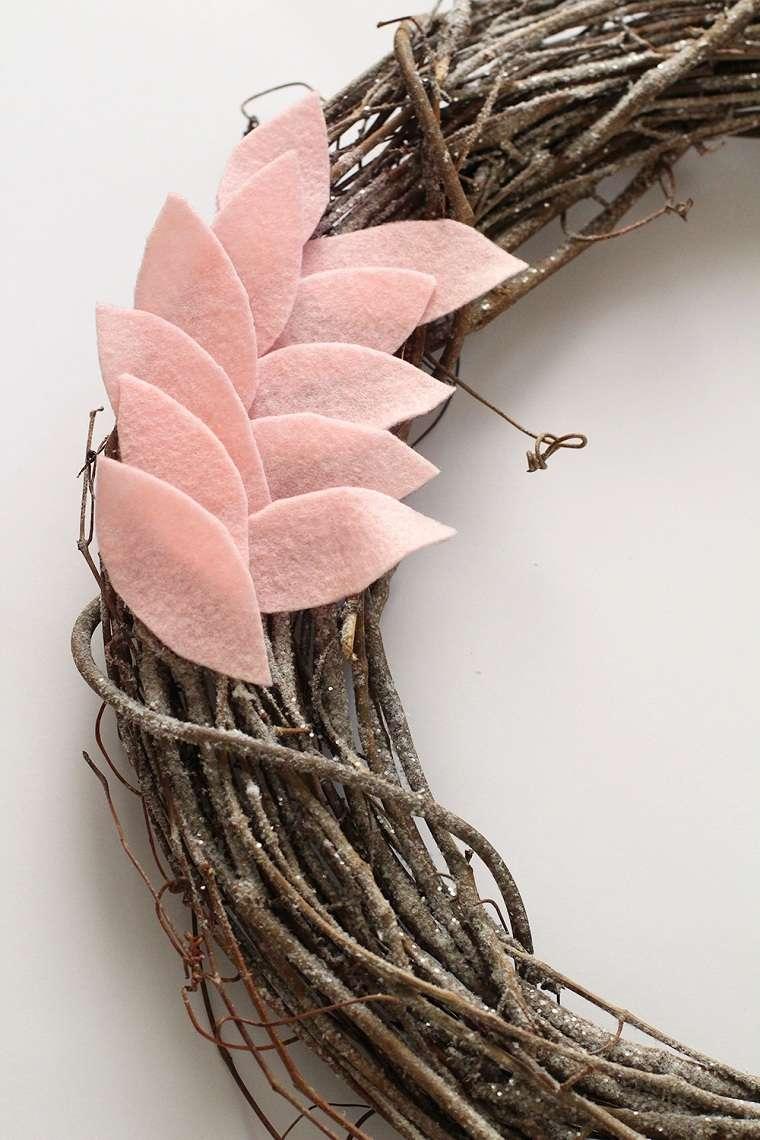 pegar-hojas-fieltro-corona-ideas