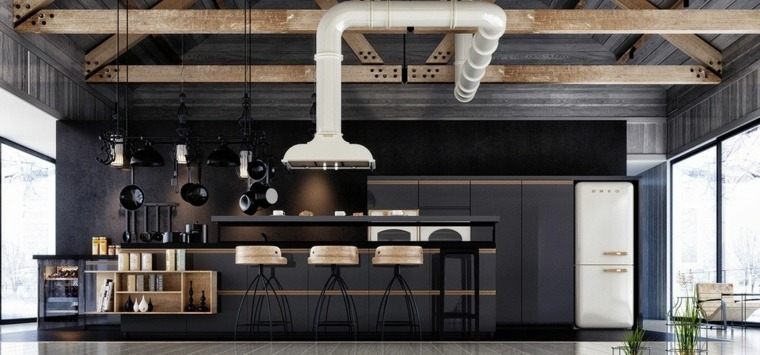 vigas-madera-destacan-cocina-negra
