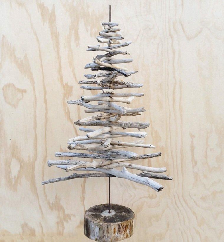 árbol de Navidad de madera-pared-decoracion-alternativa