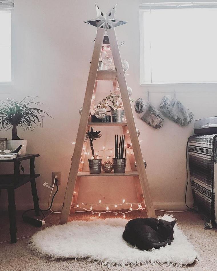 árbol de Navidad de madera-pared-decoracion-casa-opciones
