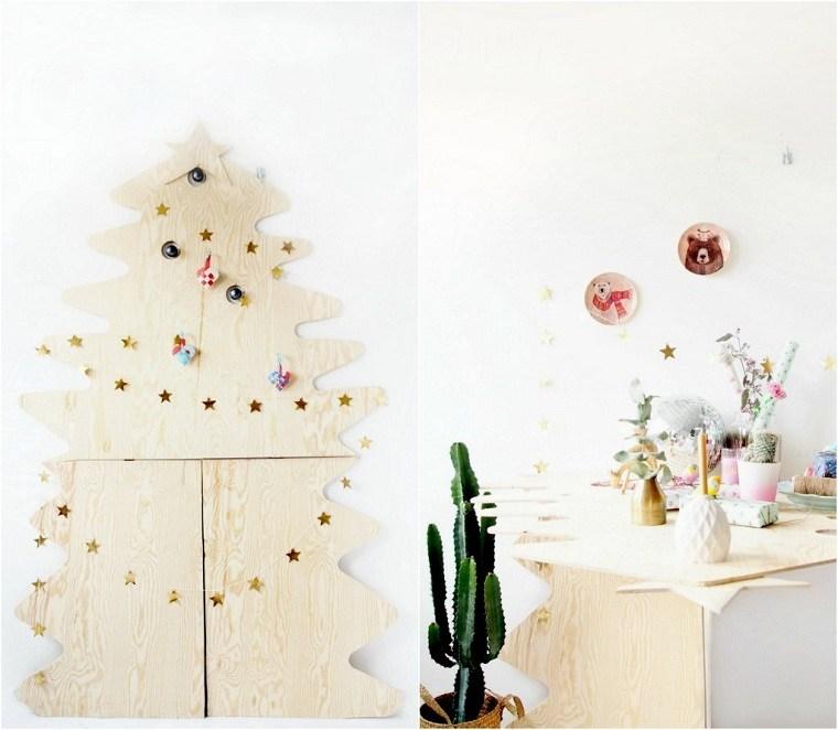 árbol de Navidad de madera pared-decoracion-estilo-madera