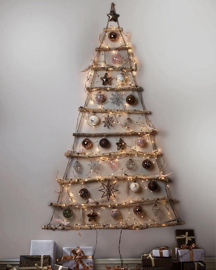 árbol de Navidad de madera-pared-decoracion-luces