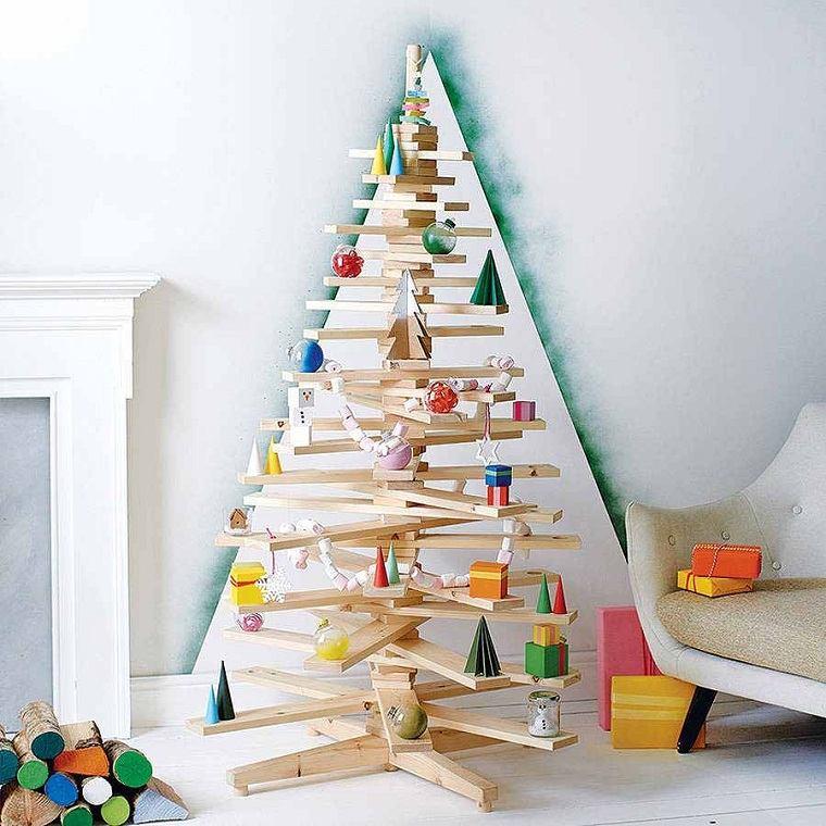 árbol de Navidad de madera-decorar-adornos