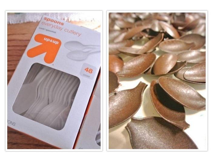 cucharas plasticas color marron