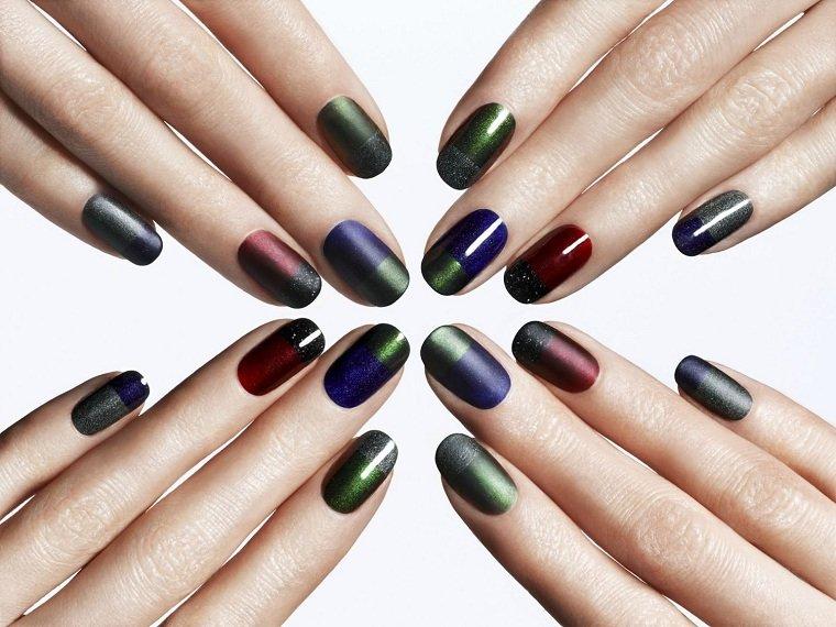 ideas-manicura-combinacion-colores-oscuros