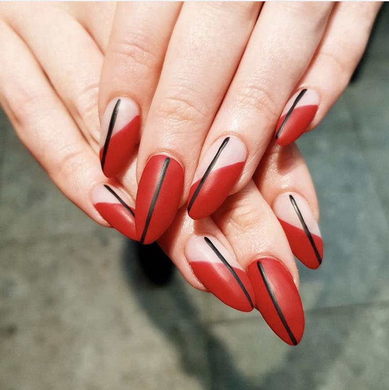 unas-decoradas-diseno-geometrico-estilo-rojo