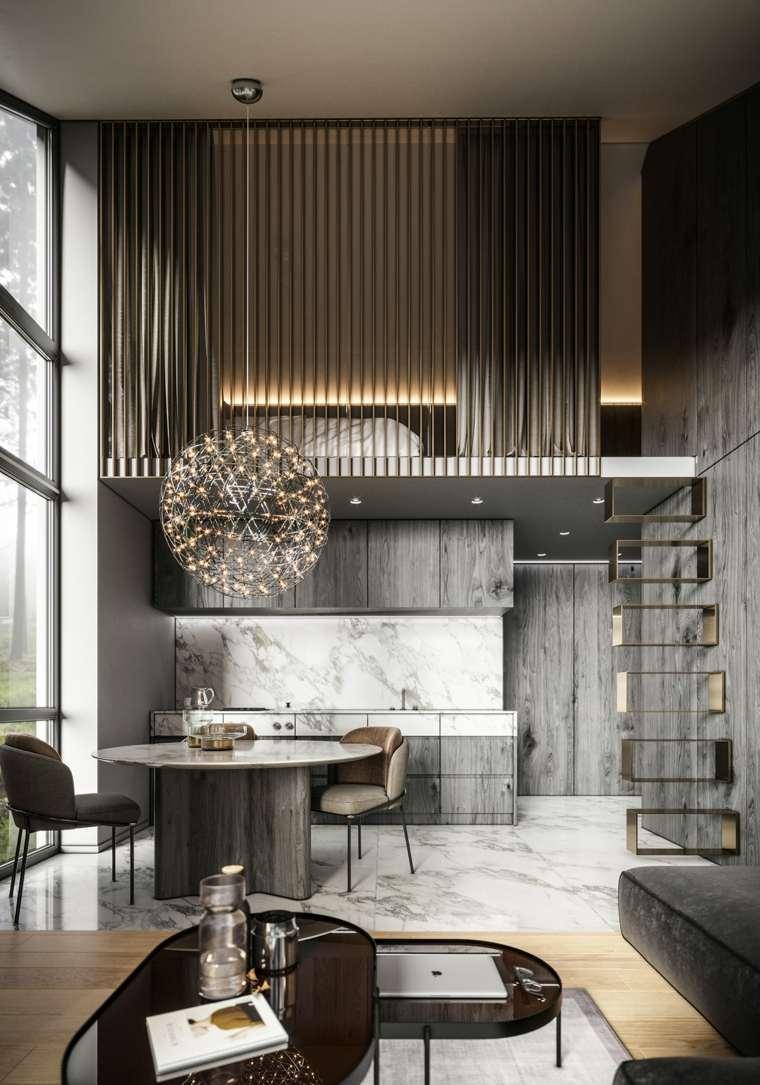 cocina de madera en gris y marmol