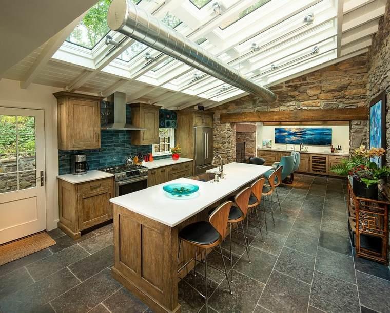 cocina con muebles de madera ideas