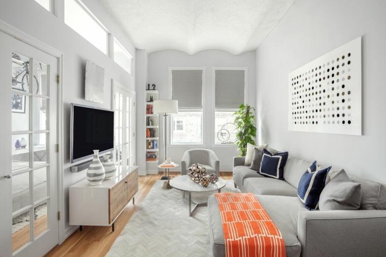 cómo decorar casas pequeñas-sala-estar-blanco-gris