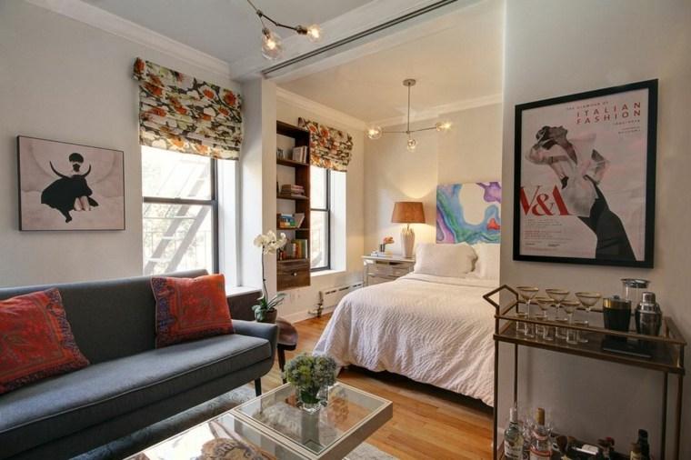 cómo decorar casas pequeñas sala-estar-dormitorio