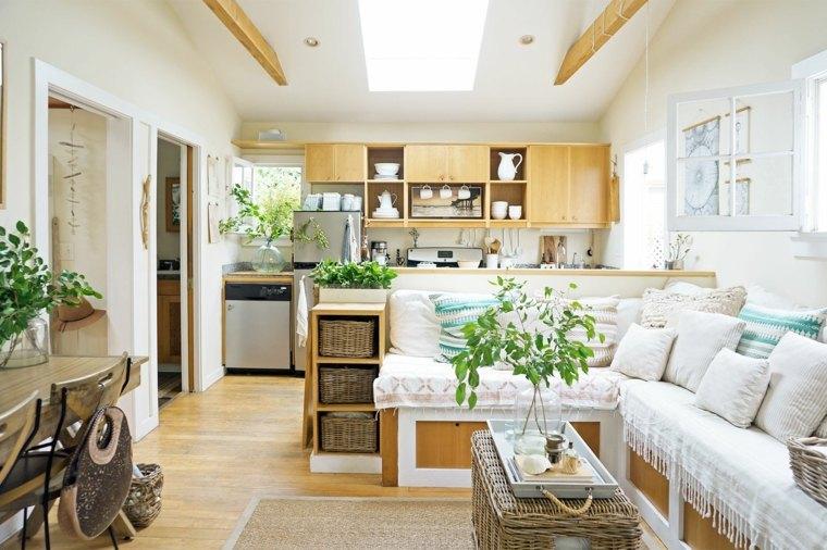 como-decorar-casas-pequenas-salon-cocina