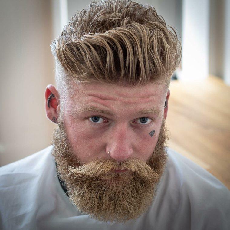 cortes de pelo hombre 2019-barba-rubio