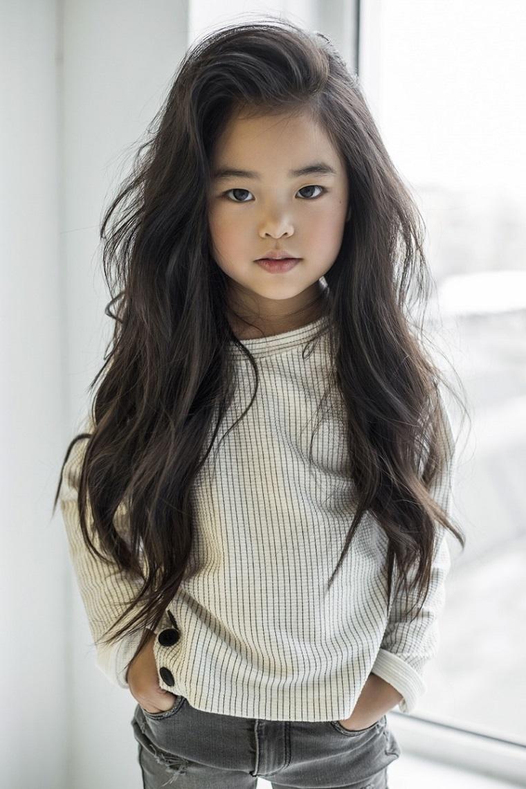 cortes de pelo niñas 2019 cabello-largo-lado