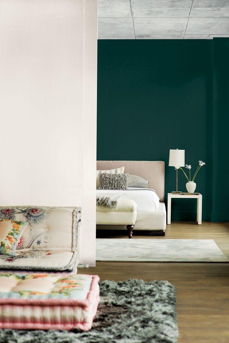 dormitorio color verde oscuro-ideas
