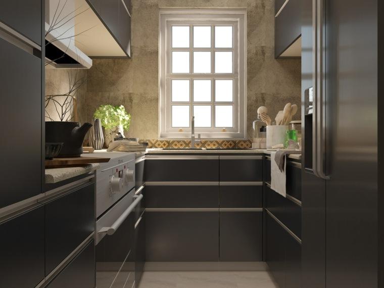 ideas para cocinas estrechas