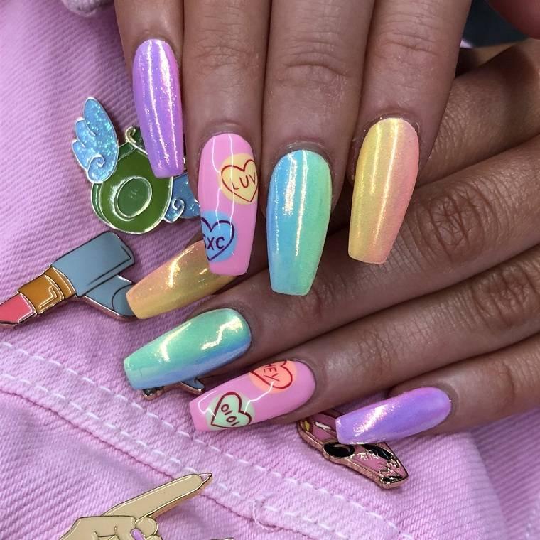Unas decoradas de moda de colores neon - Color de unas de moda ...