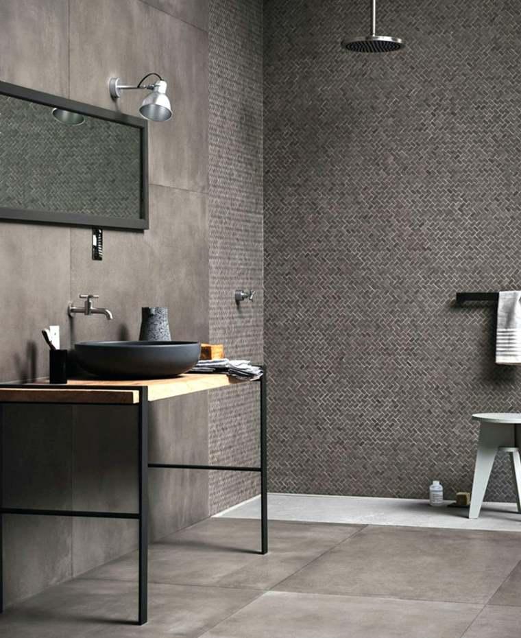 combinar azulejos baño moderno