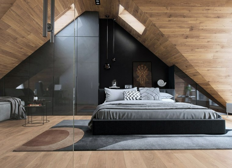 decoración ático dormitorio de madera
