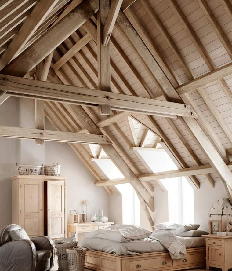 decoración ático dormitorio rustico