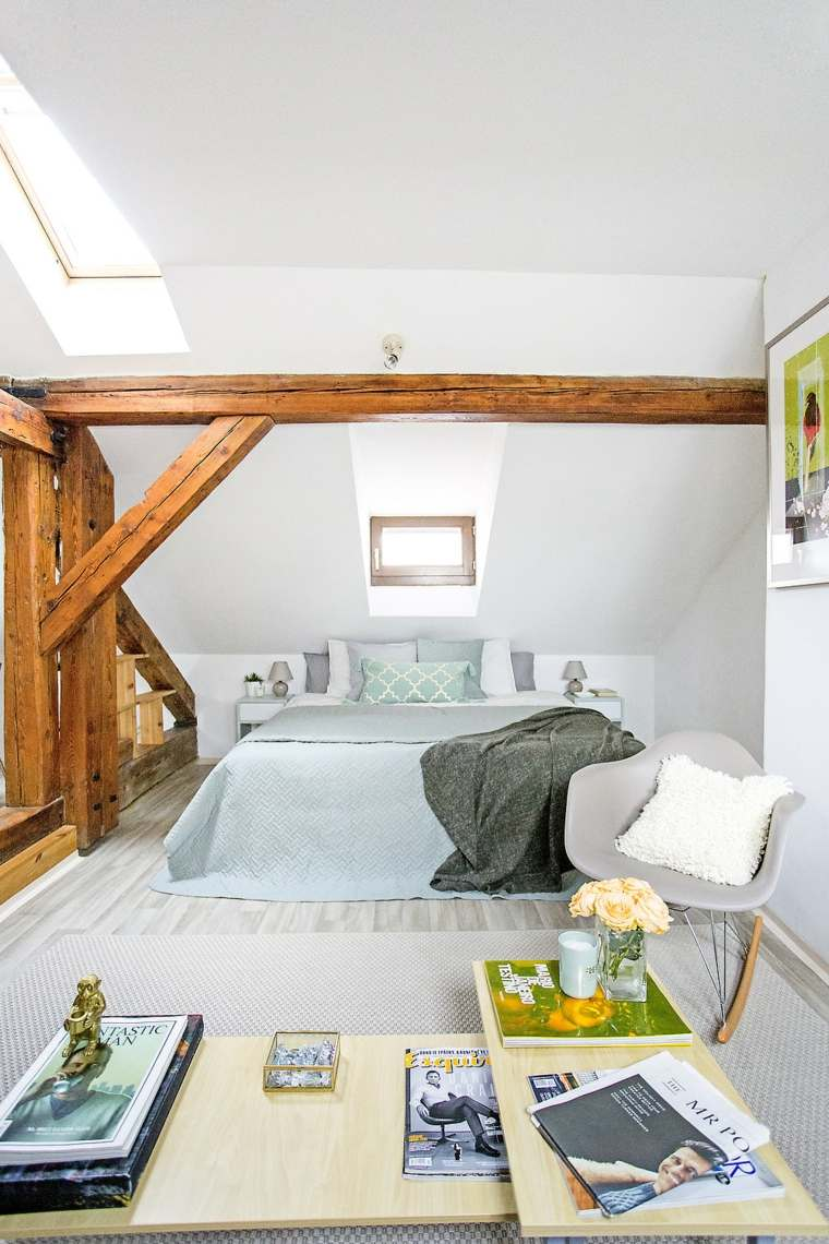 decoración ático estilo de dormitorio