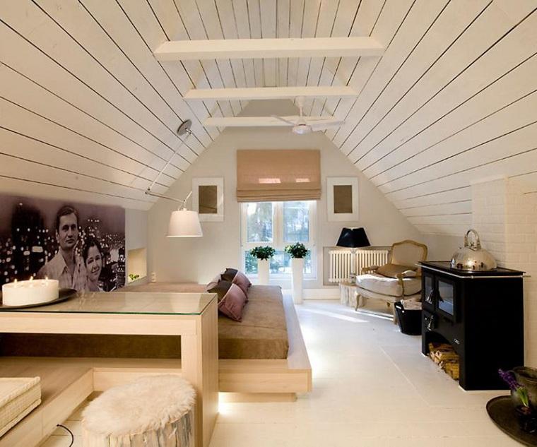 decoración de dormitorio con paredes de madera