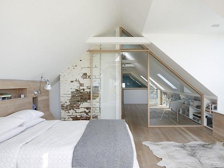 dormitorio en el ático al estilo original