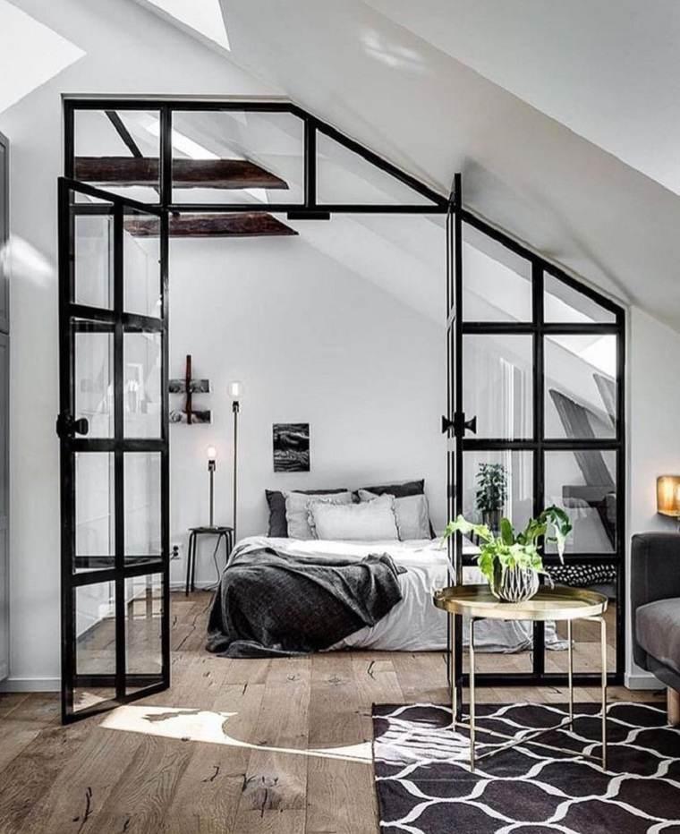 dormitorio en el ático ideas para separar habitaciones