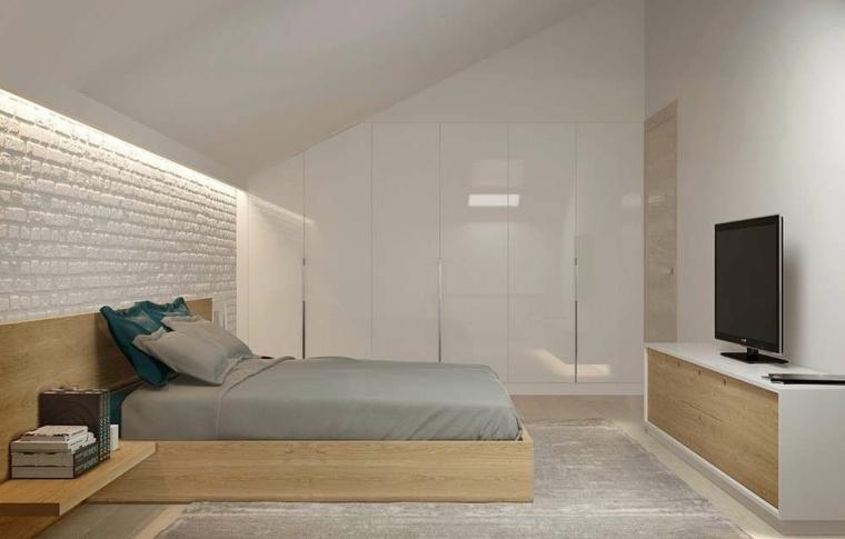 dormitorio cama-madera-paredes-blancas