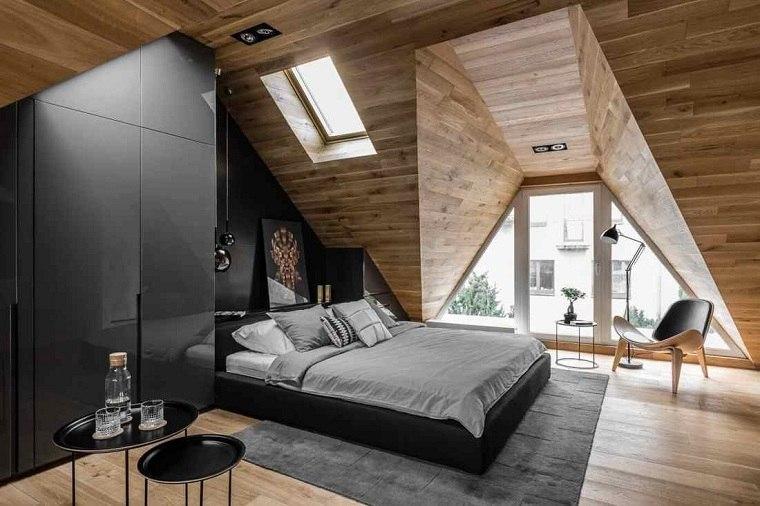 dormitorio con cama negra