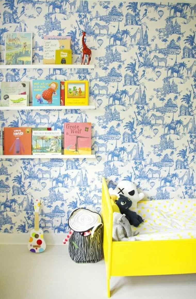 dormitorios infantiles en azul y amarillo