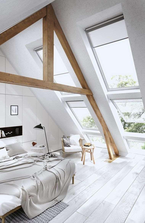 dormitorio con techos altos